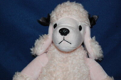 Pale Pink  Black Poodle  Plush Stuffed Animal Lovey Toy 15