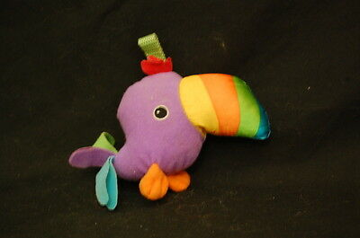 """Macaw Bird Baby Rattle Purple Orange Green Yellow Plush 4"""" Toy Lovey  for sale  Shipping to India"""