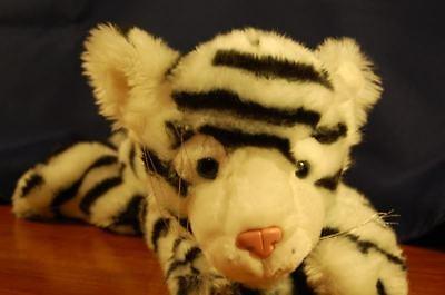 """Blanco Tigre Fauna Artistas Rayas Negras Realista Raro Peluche 12"""" Toy Lovey"""