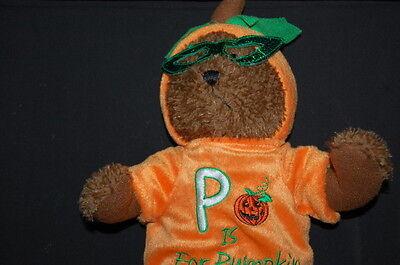 Passport Teddy Bear Brown Orange P is for Pumpkin Costume Plush 14