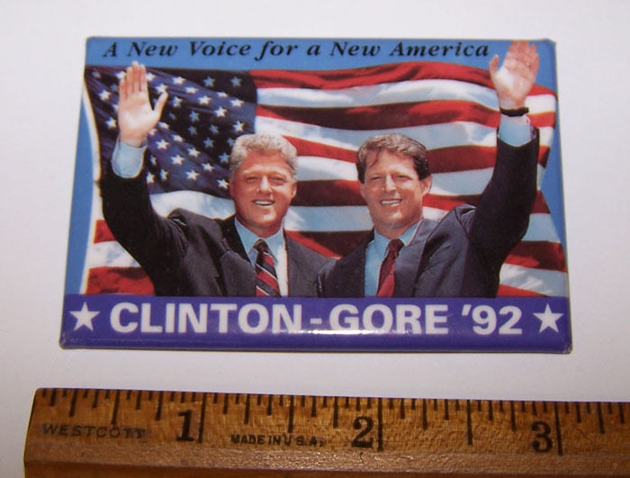 CLINTON GORE 1992 A New Voice for a New America Photo Pinback Button
