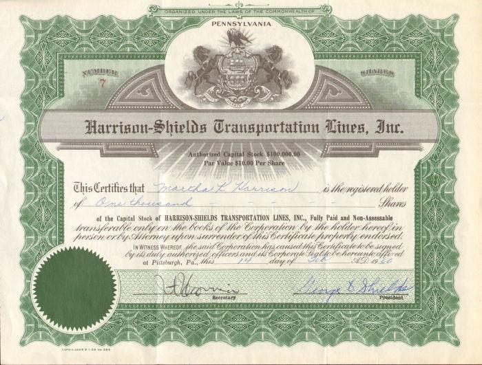 Harrison-Shields Transportation Lines Pittsburgh Pennsylvania stock certificate