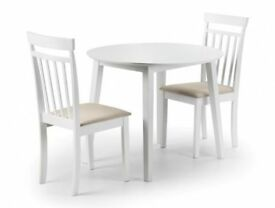 *FAST & FREE UK DELIVERY* Brand New Round Drop Leaf Dining Table with 2 / 4 Chairs in White Wood