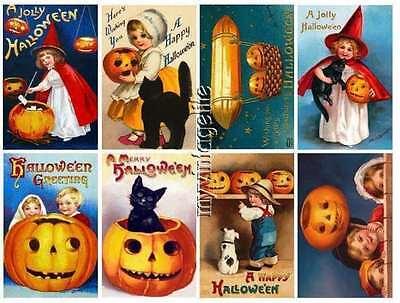 Halloween-scrapbook (16 Vintage Halloween Scrapbook Postcard Stickers Peel & Stick (no cutting))