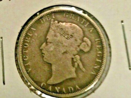 1881 H Canada 25 Cent Silver Coin
