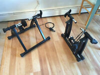 Magnetic indoor bike trainers, folds for storage