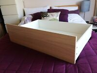 set of 4x IKEA Malm under bed storage drawers - White washed oak finish