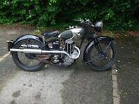 1935 AJS 250cc twin-port hand-change (model 22?). Unrestored and runs well.