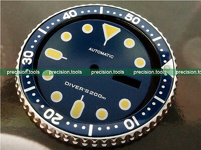Dark Blue Navy Color Replacement Dial For SCUBA SKX007 009 Dark Yellow Marks 507 Dark Navy Blue Dial