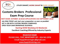 CUSTOMS BROKERS PROFESSIONAL EXAM PREP COURSE STARTING