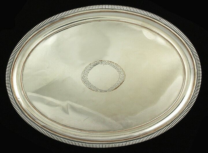 Antique English Old Sheffield Fused Silver Plate Oval Gadrooned Salver Tray