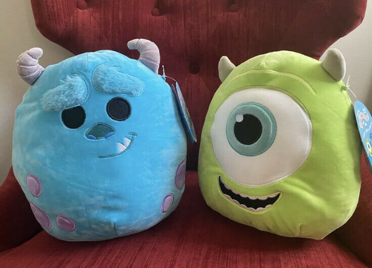 """SULLEY & MIKE 10"""" Rare Disney Squishmallow Duo Kellytoy NWT"""