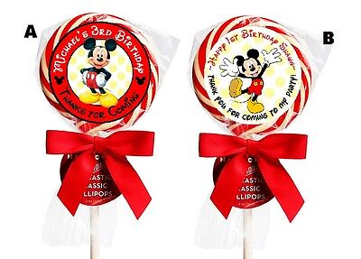MICKEY MOUSE BIRTHDAY LOLLIPOP ROUND PARTY STICKERS FAVORS 1.5