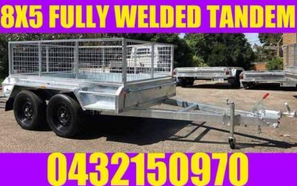 8X5 GALVANISED FULLY WELDED TANDEM TRAILER ROCKER ROLLER W CAGE