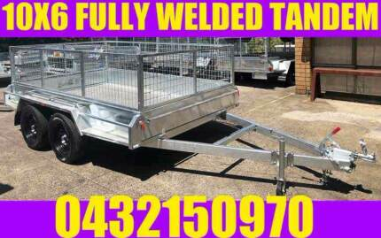10X6 FULLY WELDED GALVANISED TANDEM TRAILER WITH CAGE BOX TRAILER