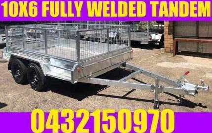 10X6 TANDEM TRAILER FULLY WELDED GALVANISED WITH CAGE BOX TRAILER