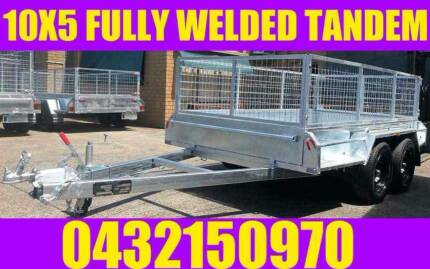 10X5 FULLY WELDED GALVANISED TANDEM TRAILER WITH CAGE BOX TRAILER