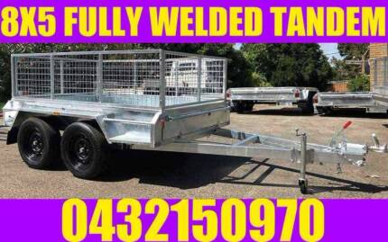 8X5 FULLY WELDED GALVANISED TANDEM TRAILER WITH CAGE BOX TRAILER