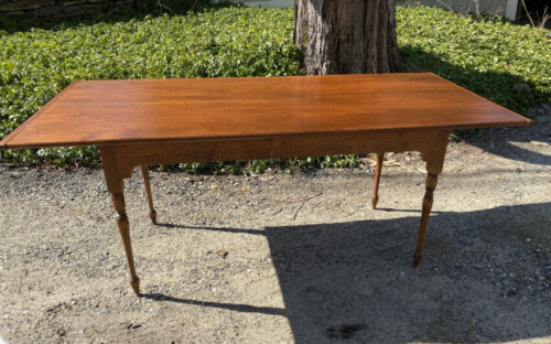 Early D. R. Dimes country pine dining table w orig Old Sturbridge Village stamp