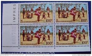 MADAGASCAR-timbre-stamp-yvert-et-tellier-aerien-n-107-Bloc-de-4-n