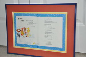 "Framed Winnie the Pooh poem ""Bath Time"" Kitchener / Waterloo Kitchener Area image 1"