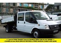 2013 FORD TRANSIT 350/125 DOUBLE CREW CAB ALLOY TIPPER 1 OWNER FROM NEW,6 SPEED,