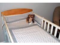 Mamas and papas cot bed, wardrobe and change unit