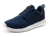 BRAND NEW with Tags - Unisex Nike Roshe Run NAVY/BLACK Running Trainers - SIZE UK 7.5 EURO 42