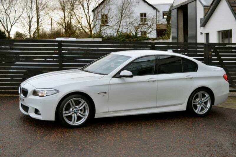 2014 14 BMW 5 SERIES 20 520D M SPORT 4D AUTO 181 BHP LCI ALPINE WHITE
