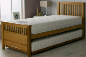 Single Solid Oak Bed with Pull Out Trundle bed RRP £600