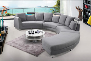Genuine Leather or Fabric Oversized Circular Sofa with Ottoman