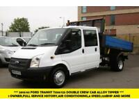2013 FORD TRANSIT 350/125 DOUBLE CREW CAB ALLOY TIPPER WITH AIR CONDITIONING,6 S