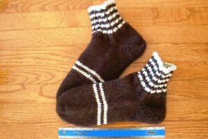 Wool heavy thick hand knitted warm winter unisex socks slippers
