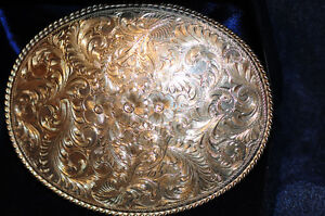 Beautiful Hand Carved Pure Sterling Silver Western Belt Buckle