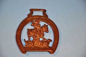 Vintage Brass Horse JOHN PEEL  Medallion Bridle Ornament