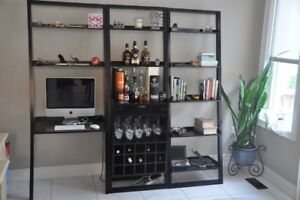 Crate & Barrel Sloane Leaning Wine Bar with Bookcase and Desk