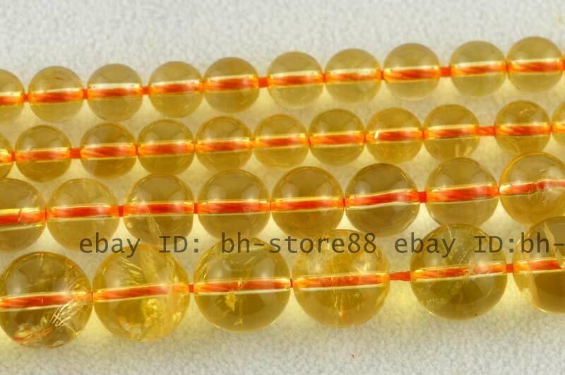 AAA Natural 6、8、10mm Round Citrine Gemstone Beads 15