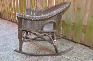 Brown Painted wicker Chair and foot stool Cambridge Kitchener Area image 3