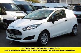 2014 FORD FIESTA BASE 1.5TDC DIESEL VAN WITH ONLY 50.000 MILES *** CHOICE OF 2 F