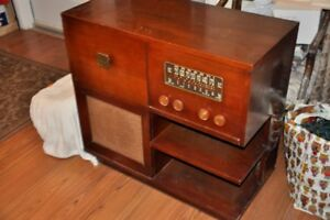 Record Player: antique Marconi record player and radio + records