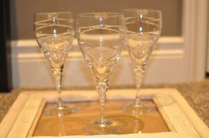 Crystal Cross Swirl Goblets/Wine Glasses, Set of 6
