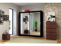 LAXURY 203 CM 2 Door ful Mirrored sliding door wardrobe brand new same day delivery all over london