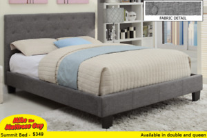 "COMPLETE SET-LINEN PLATFORM BED AND COMFY 2"" PILLOWTOP MATTRESS"