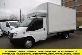 2013 FORD TRANSIT 350/125 DRW E/F LUTON TAILLIFT DIESEL VAN WITH ONLY 62.000 MIL