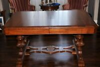 Antique Solid Oak Dining Table with Matching Arm Chair