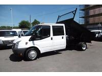 2010 FORD TRANSIT 350 DOUBLE CAB STEEL TIPPER WITH REAR TOOL STORAGE AND ONLY 60