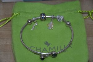 Chamilia sapphire bangle with 4 charms. Large.