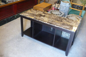 TV Stand Coffee Table Faux Stone Top Modern Used Furniture CLEAN