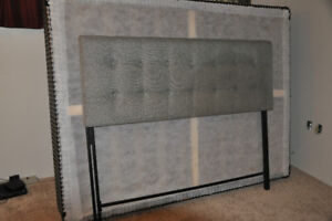 Galvin Queen Headboard (Grey cloth) with metal bed frame
