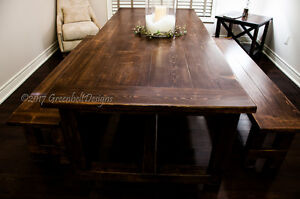 NEW RECOVERY WOOD FARMHOUSE DINING ROOM TABLE & BENCH SET